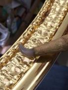 Blattgold mit Achat polieren